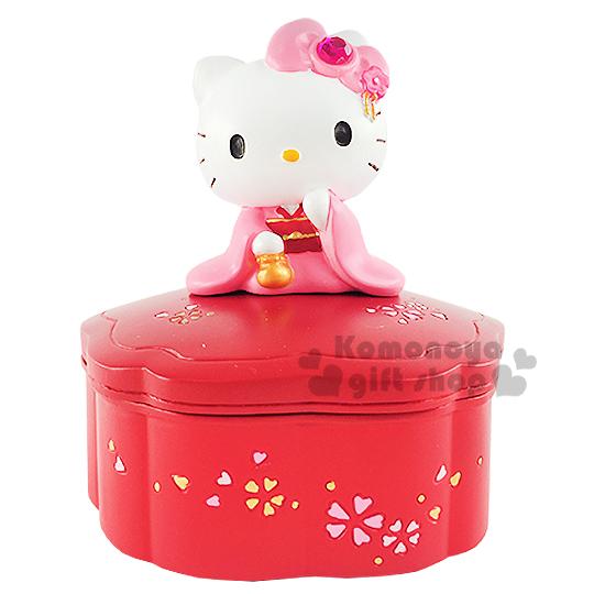 〔小禮堂〕Hello Kitty 招財聚寶盆《小.紅.櫻花.坐姿.和服》內附五色石