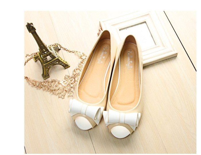 【Pyf】捲捲雙色蝴蝶結 魚口平底鞋 42 43 大尺碼女鞋