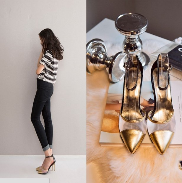 【Pyf】韓版 性感透明網紗 OL尖頭細跟高跟涼鞋 42 43 大尺碼女鞋