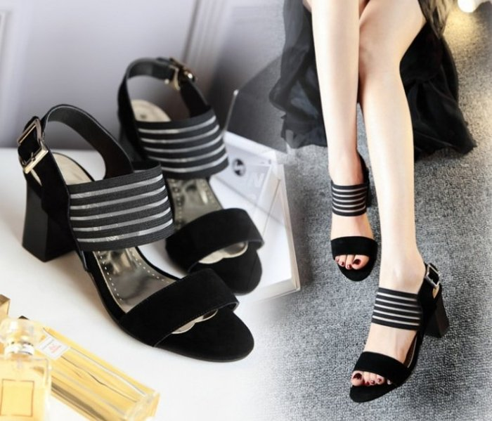 【Pyf】異材質 網面簍空 一字粗高跟涼鞋42 43 大尺碼女鞋