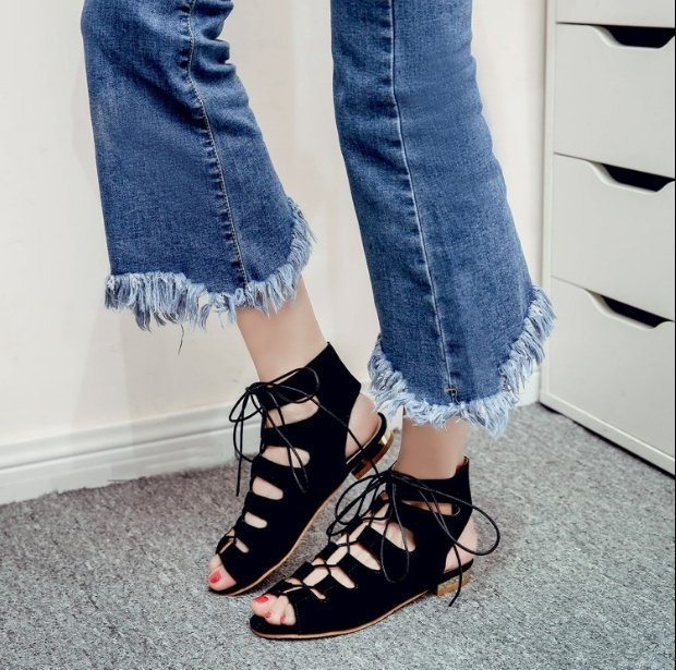 【Pyf】新款歐美 絨面交叉綁帶 波西米亞平底羅馬涼鞋 42 43 大尺碼女鞋