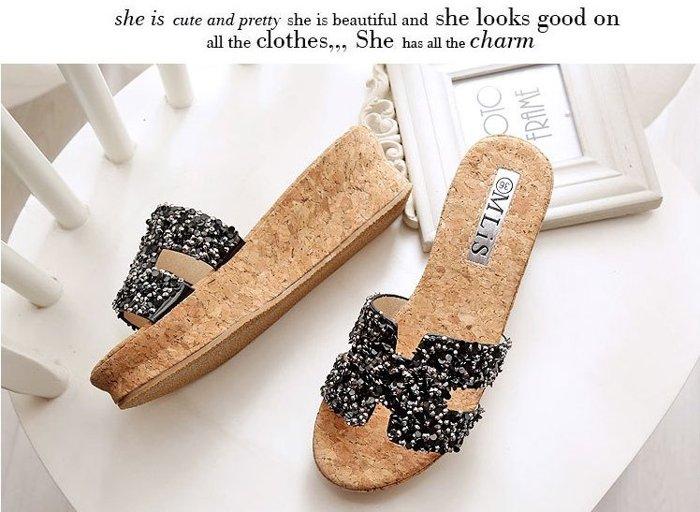 【Pyf】厚底 亮片H裝飾 軟木一字拖鞋 42 大尺碼女鞋