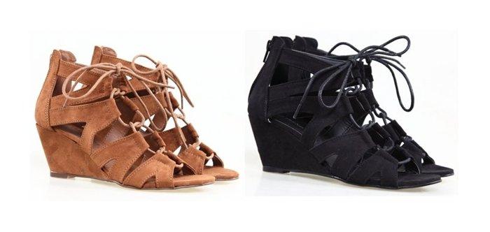 【Pyf】歐美街拍 波西米亞 ?面?? 交叉綁帶 楔型跟 羅馬?鞋 42 大尺碼女鞋