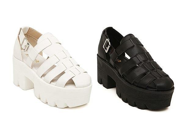 【Pyf】韓系 圓頭編織 羅馬扣帶 鬆糕厚底 粗跟 涼鞋 加大 40 41 42 43中大尺碼女鞋