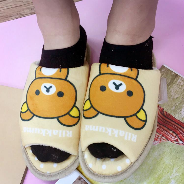 PGS7 (現貨+預購) 日本卡通系列商品 - 拉拉熊 絨毛 拖鞋 杏色 鞋子 室內拖 拉拉雄 懶懶熊 鬆弛熊
