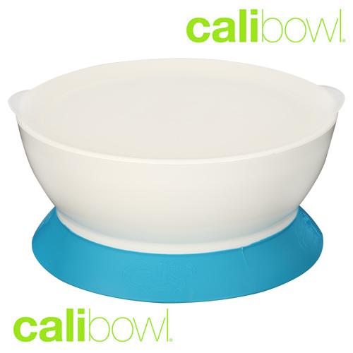 美國 CaliBowl 專利防漏防滑幼兒學習吸盤碗 單入附蓋 12oz 藍色 *夏日微風*