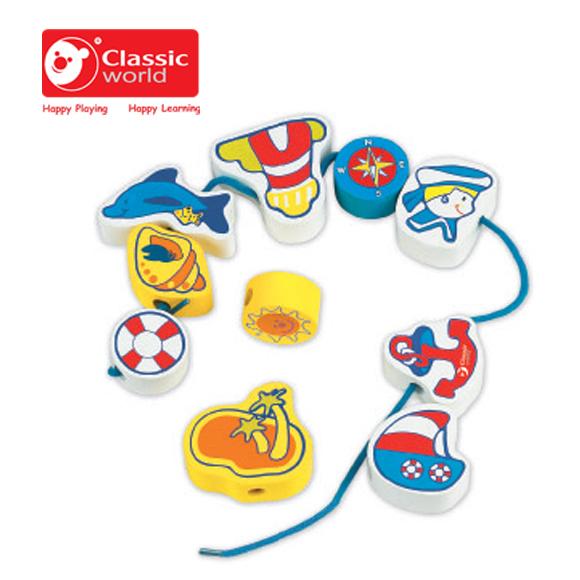 【德國 classic world】客來喜木頭玩具 海洋串珠 CL2086