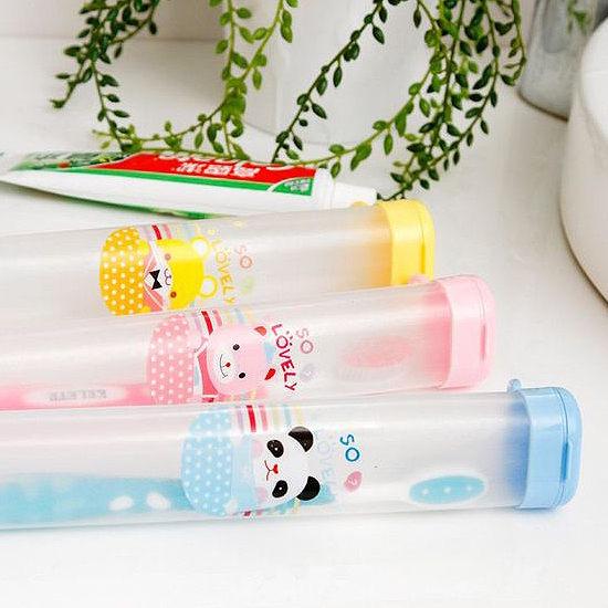 ♚MY COLOR♚便攜懸掛式牙刷盒 餐具 牙具 洗漱 收納 旅行 出差 外宿 軟管 筷子 叉子【T16-2】