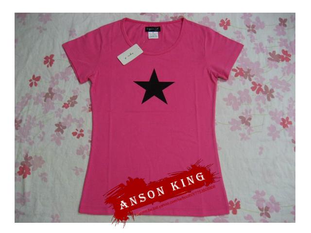 [Anson king]outlet國外代購 agnes b 星星 短袖 圓領 女款 T恤 粉