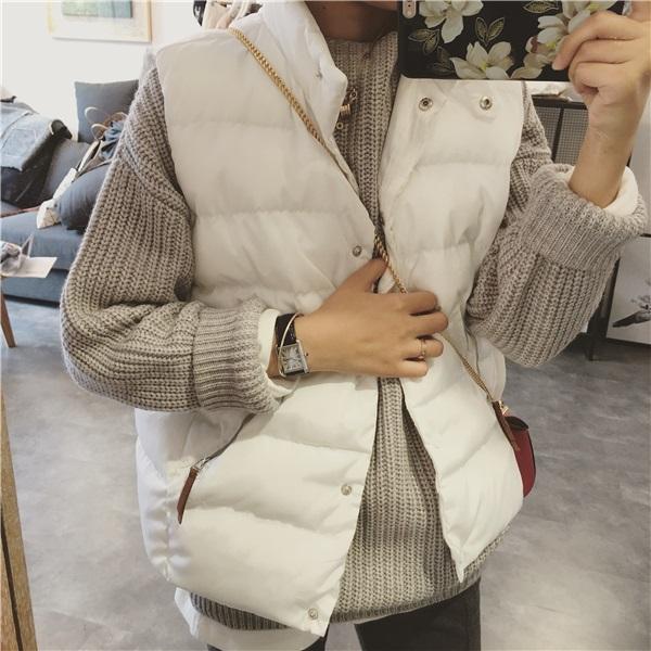 PS Mall 寬鬆立領棉衣無袖背心短款羽絨棉服馬甲外套【T4289】
