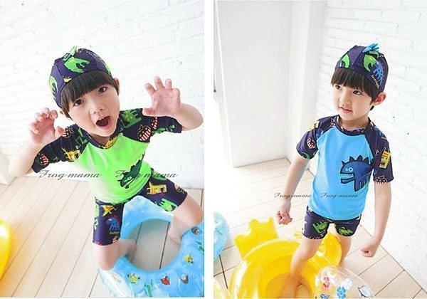 ☆青娃媽媽☆兒童潛水服、恐龍泳裝泳衣+泳褲+泳帽三件組