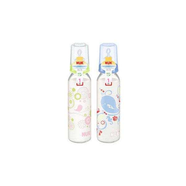 德國NUK 一般口徑玻璃印花奶瓶/230ML/附2號中圓【六甲媽咪】