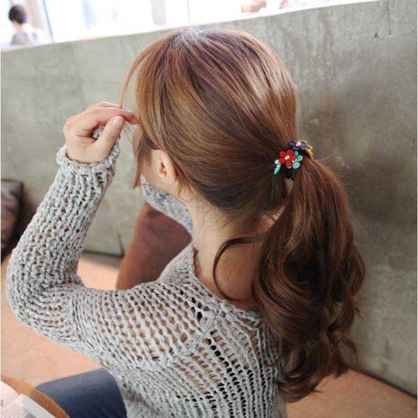 PA  Mall 韓版髮飾 甜美可愛小清新彩色小花朵髮繩 髮圈【G1916】