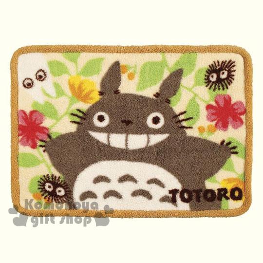 〔小禮堂〕宮崎駿 Totoro龍貓 滾邊毛毯《淺黃.大臉.花朵.灰塵精靈》70x100cm