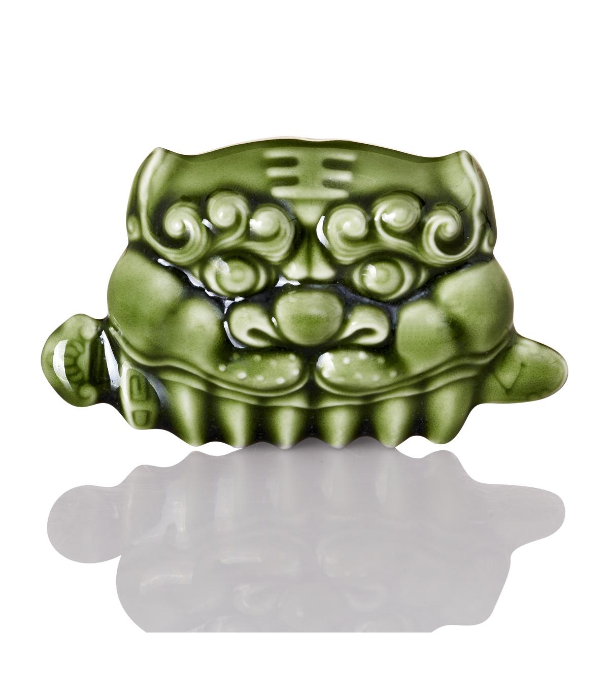 乾唐軒活瓷 ‧ 獅頭健康按摩梳 /  綠釉