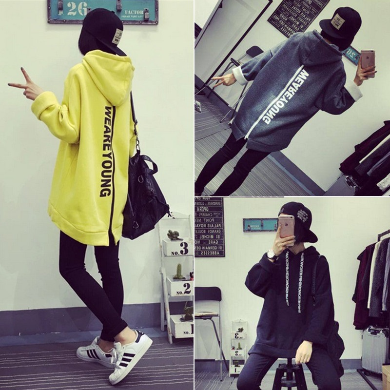 PS Mall 韓版字母印花加絨加厚帶帽中長款上衣外套連帽T恤【T4342】