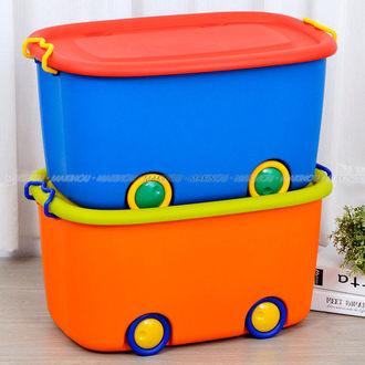 日本MAKINOU 大寶玩具收納整理箱附輪2入組-台灣製 收納箱 置物盒 塑膠盒 置物箱 收納車