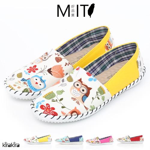 休閒鞋 MIT縫邊貓頭鷹圖紋平底休閒鞋 偏小【011600190】-預購