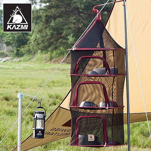 【露營趣】中和 送鉤環 KAZMI 四層方形餐櫥籃(黑)K3T3K009 餐廚網籃 碗籃 網籃 吊籃 餐具晾乾食材收納