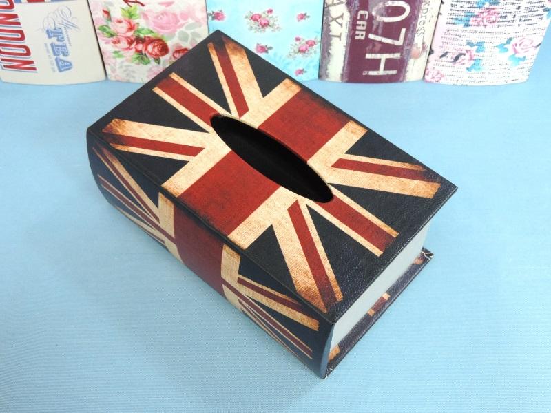 ◤彩虹森林◥《英國國旗》 書本造型面紙盒 木製皮革面紙盒 英倫風面紙盒 磁扣式 收納盒 發票桶