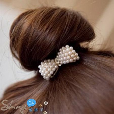 【DJB1215】shiny藍格子-小珍珠蝴蝶結造型髮圈