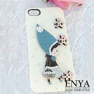 iPhone5S 甜美森林小女孩 清新貼鑽手機殼 Enya恩雅(捷克水晶鑽)