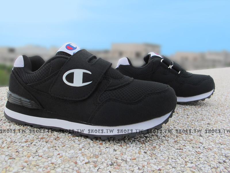 Shoestw【621230110】Champion 中童鞋 運動鞋 黏帶 黑白