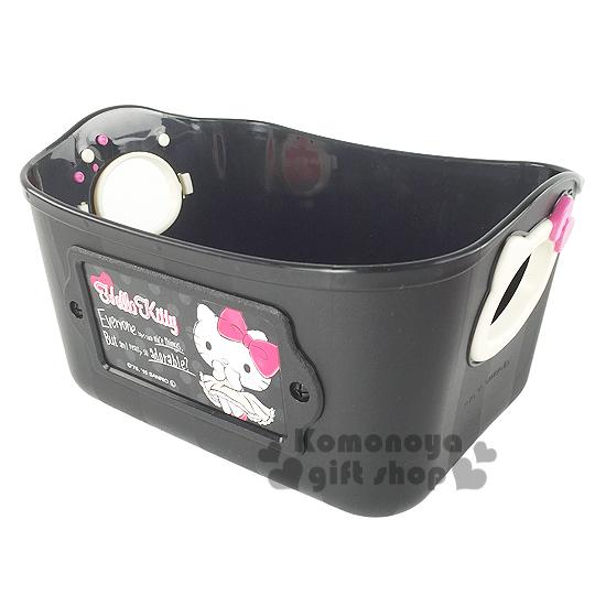 〔小禮堂〕Hello Kitty 日製收納盒《小.黑.站姿.腮紅.500ml》