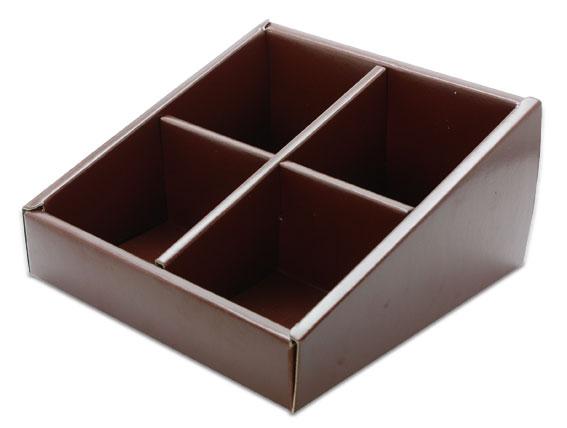 外帶盒、紙盒、包裝盒 4格 G14575-3(深棕色)5 pcs含透明盒、附內格