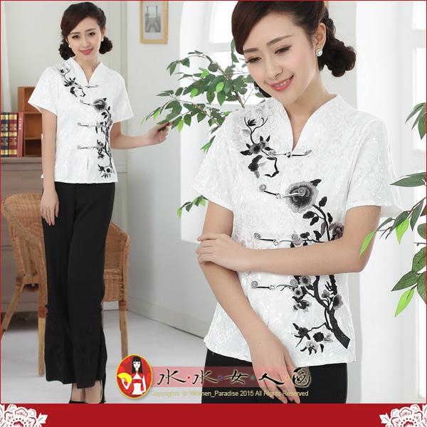 【水水女人國】~時尚中國美穿在身~黑牡丹。提花棉一字扣繡花唐裝短袖旗袍式上衣