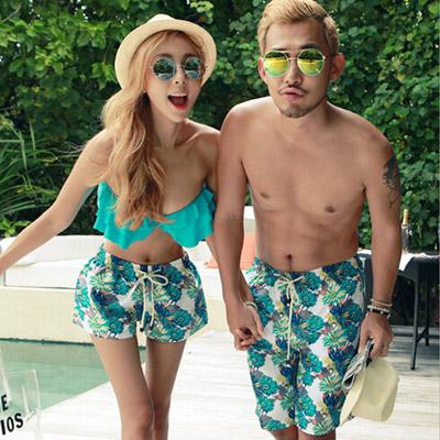 泳衣 韓版荷葉邊3件式比基尼海灘褲情侶泳裝【O2931】(男裝)☆雙兒網☆
