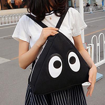 後背包  韓版學院風可愛眼睛三角帆布後背包【O2966】☆雙兒網☆