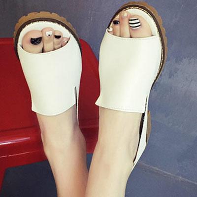 魚口鞋 經典時尚簡約粗跟魚口鞋【S1102】☆雙兒網☆