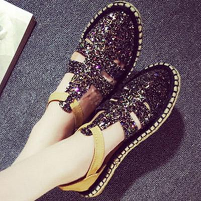 樂福鞋 流行時尚草編平底亮片涼鞋【S1130】☆雙兒網☆