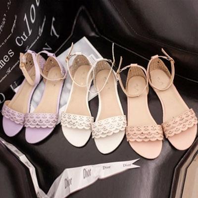 涼鞋 甜美雕花波浪蕾絲平底涼鞋【S1198】☆雙兒網☆