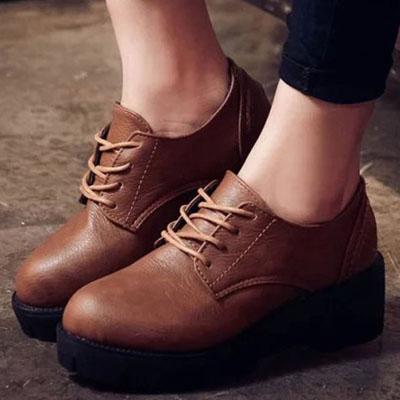 厚底鞋  復古綁帶厚底牛津短靴【S1292】☆雙兒網☆