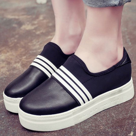 懶人鞋 經典黑白線條百搭休閒鞋【S1555】☆雙兒網☆