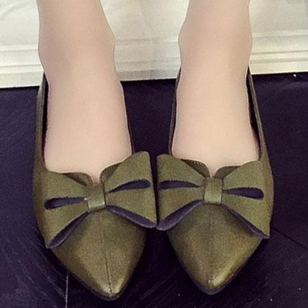 尖頭鞋 歐美復古蝴蝶結尖頭平底鞋【S1560】☆雙兒網☆