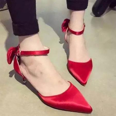 高跟鞋 優雅LADY緞面蝴蝶結尖頭跟鞋【S1589】☆雙兒網☆