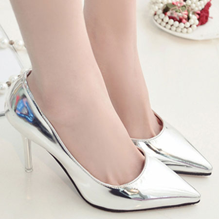 高跟鞋 韓國側空亮面漆皮尖頭高跟鞋【S1600】☆雙兒網☆