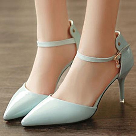 高跟鞋 甜美漆皮水鑽繫帶尖頭高跟涼鞋【S1615】☆雙兒網☆