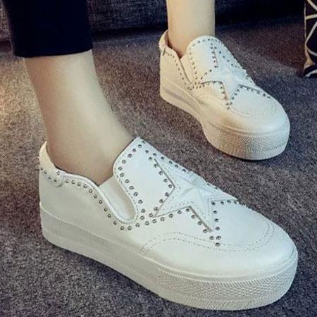 懶人鞋 明星同款星星鉚釘皮革厚底鞋【S1630】☆雙兒網☆