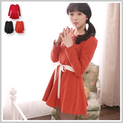☆雙兒網☆ 幸福樂章 【d2143】韓版公主袖A-Line修身顯瘦素色毛尼洋裝