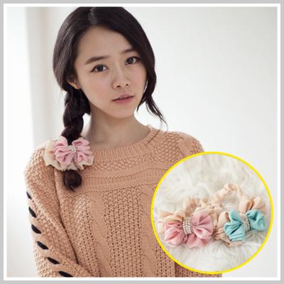 ☆雙兒網☆Lazy or pretty 【o2077】韓國棉花糖女孩雙層蝴蝶結配色珍珠髮圈