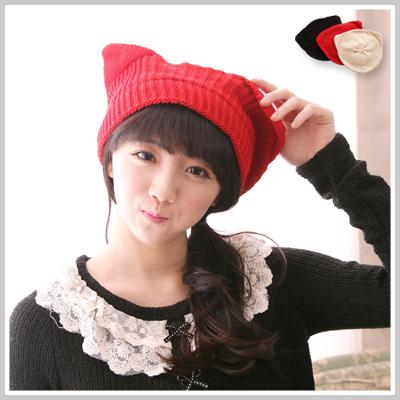 ☆雙兒網☆ 幸福樂章 【o2154】風靡日韓貓咪耳造型貝蕾帽毛線帽
