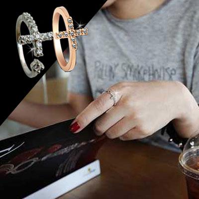 ☆雙兒網☆【O2493】韓劇想你尹恩惠同款韓劇想你鑲鑽十字架戒指