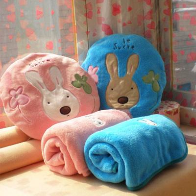 ☆雙兒網☆砂糖兔空調毯抱枕組-大【O2521】太空毯/午睡枕/靠頸枕