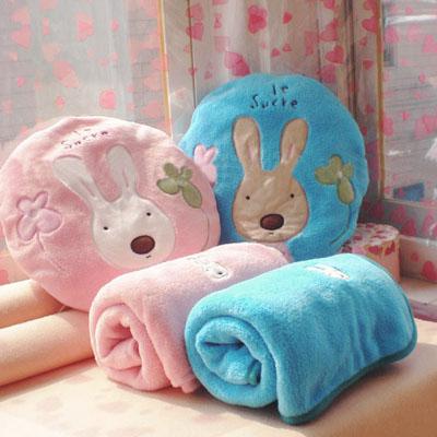☆雙兒網☆砂糖兔空調毯抱枕組-小【O2522】太空毯/午睡枕/靠頸枕