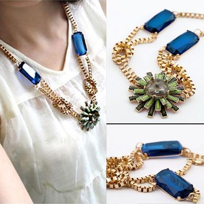 典雅花朵藍寶石項鍊【O2644】☆雙兒網☆