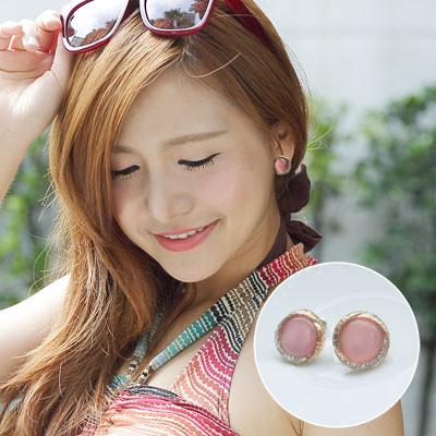 甜美貓眼石鑲鑽耳環【O2659】☆雙兒網☆